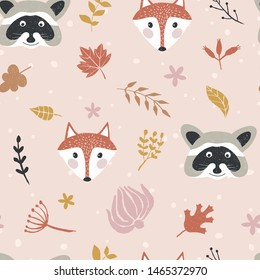 Autumn seamless pattern with foxes and raccoons.  Vector background