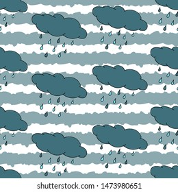 Autumn seamless pattern with hand drawn rain cloud and stripes. Background can be printed on textile, wallpaper, wrapping paper, greeting cards. Colorful hand drawing sketch. Vector illustration
