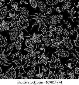 Autumn seamless pattern with leaves in black and white color