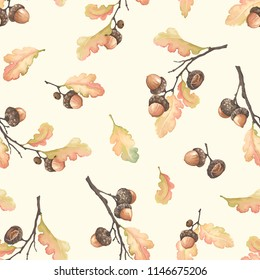 Autumn seamless pattern with oak branches, acorns and leaves. Vector illustration in vintage watercolor style.