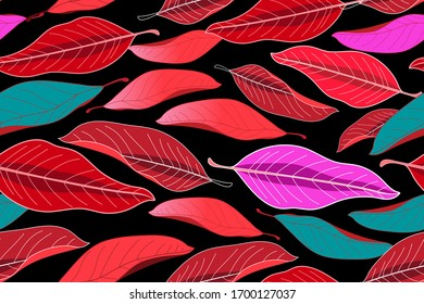 Autumn seamless pattern with red leaves on a dark background. Template for Wallpaper or fabric design