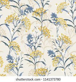 Autumn seamless pattern vector with yellow berries and leaves. Fall colorful floral background.pattern for fashion,fabric and all prints on light beige background.