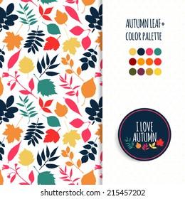 Autumn seamless pattern.Color autumn pallet.