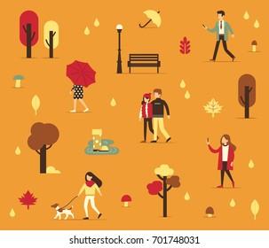 Autumn season background with people. Flat style vector illustration.