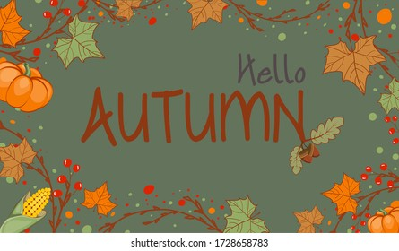 Autumn Season Banner with Leaves, Branches and Pumpkin