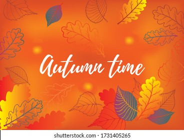 Autumn season banner template with colorful orange leaves and space for text. Fall season shopping promotional leaflet, flyer, invitation card, advertising vector illustration