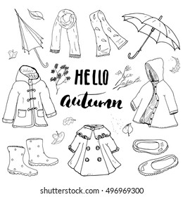 Autumn season clothes set. Hand drawn doodles and lettering vector illustration