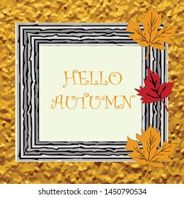 autumn season  frame  ,border with empty space background for text or ad   vector eps.10