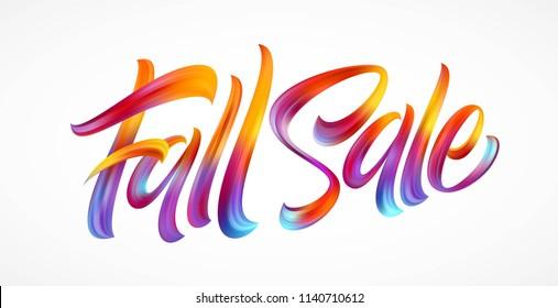 Autumn season hand lettering Fall Sale. Modern brush calligraphy isolated on white background. Vector illustration EPS10