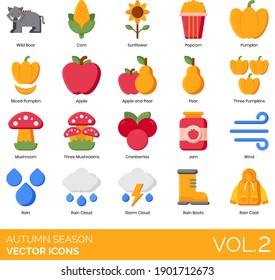 Autumn season icons including wild boar, corn, sunflower, popcorn, sliced pumpkin, apple, pear, three mushroom, cranberries, jam, wind, storm cloud, rain boots, raincoat.