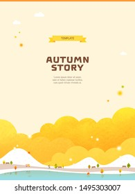 Autumn season landscape scene frame template design