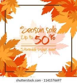 Autumn season sale off banner vector illustration
