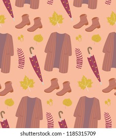 Autumn season seamless pattern. fall essentials, umbrella, boots, long cardigan.