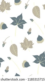 Autumn season seamless pattern. Fall leaves with cool tones on light background