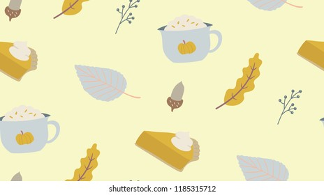 Autumn season seamless pattern. Pumpkin spiced, latte, pie, acorn