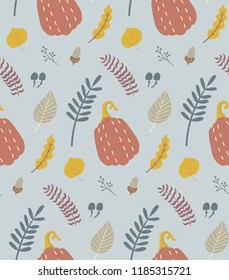 Autumn season seamless pattern. Pumpkin, fall leaves