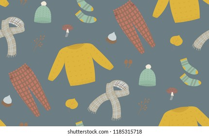 Autumn season seamless pattern. Sweater weather, scarves, beanie, socks.