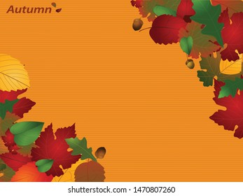 Autumn Season Striped Yellow Paper Copy Space Personalisable Background With Decorative Text and Leafs