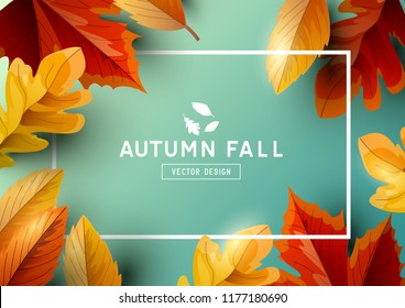 Autumn seasonal background frame with falling autumn leaves and room for text. Vector illustration