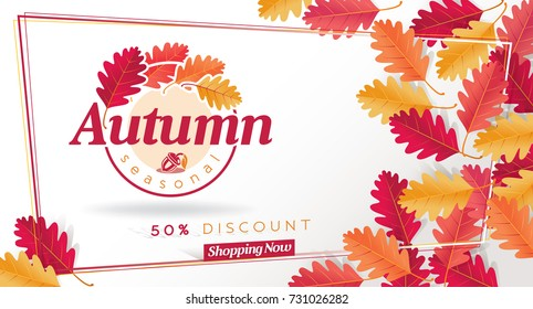 Autumn Seasonal Discount Card and Vector Web Banner
