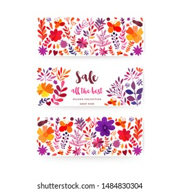 Autumn seasonals poster with autumn leaves and floral elements in fall colors. Autumn SALE greetings card perfect for prints, flyers, banners, invitations, promotions and more.