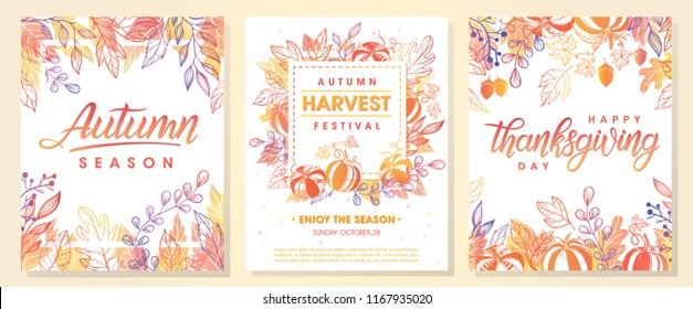 Autumn seasonals postes with autumn leaves and floral elements in fall colors.Autumn greetings cards perfect for prints,flyers,banners,invitations,promotions and more.Vector autumn illustration.\r