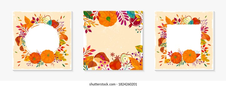 Autumn seasonals templates with leaves and floral elements in fall colors.Vector layouts perfect for prints,flyers,banners,invitations.Trendy fall banners.Autumn illustrations with copy space for text
