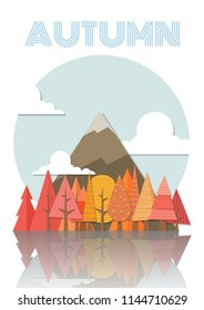 Autumn, Season's Greetings card design with forest and moutain.Vector illustration.