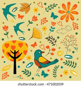 Autumn set with birds, flowers and leaves.