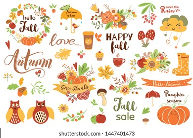 Autumn set Cute hand drawn fall elements- calligraphy fall leave owls wreath pumpkin ribbon bouquet branch phrases Autumn clip art for web card poster cover tag invitation sticker Vector illustration.