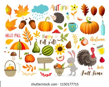 Autumn set with hand drawn elements.  Calligraphy, fall leaves, animals and other. Vector illustration EPS 10