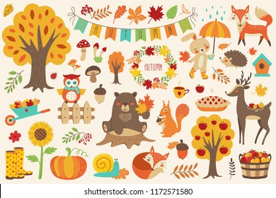 Autumn set, hand drawn elements with forest animals  bear, fox, squirrel, deer, hare, owl, snail, hedgehog, wreath. Vector illustration