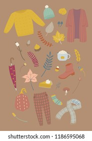 Autumn set illustration. Fall essentials element on dark background. Vector illustration
