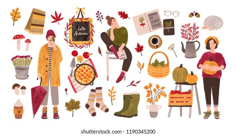 Autumn set - people holding gathered seasonal crops, fallen leaves, rubber boots, knitted socks, forest mushrooms isolated on white background. Colorful vector illustration in flat cartoon style.