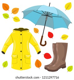 Autumn set: raincoat, boots, umbrella and colorful leaves. Vector illustration.