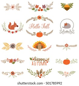 Autumn set with turkey, squirrel, hedgehog, fall leaves, floral motifs, pumpkin, acorn, wreath, laurels and banner.