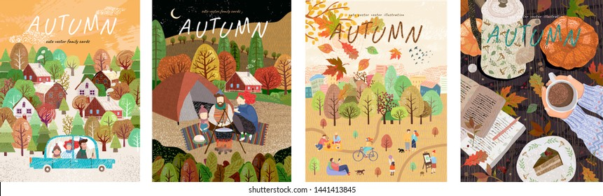 Autumn. Set of vector illustrations of a happy family on holidays at a picnic, car trips, a park with leaf fall and a cozy table with coffee. Freehand drawings for a poster, banner or card\n