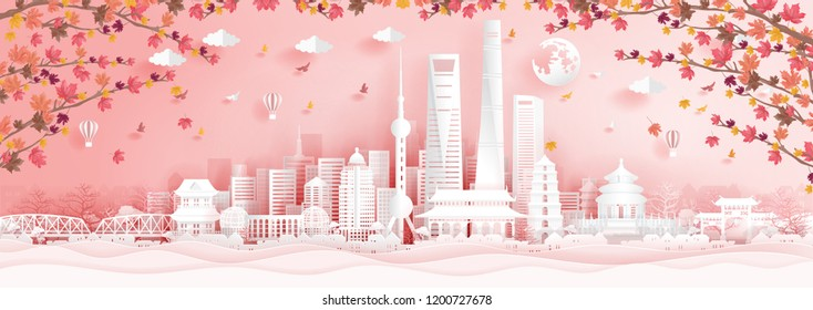 Autumn in Shanghai, China with falling maple leaves in paper cut style vector illustration