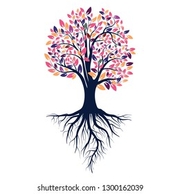 Autumn silhouette of a tree with colored leaves. Tree with roots. Isolated on white background. Retro 80's style colors. Vector Illustration