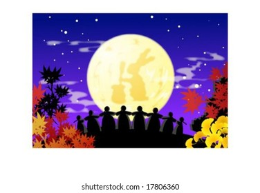 Autumn Sketch - happy females dancing Ganggangsulrae at beautiful night : vector illustration