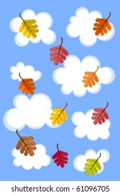 Autumn sky with clouds ands colorful leaves vector background