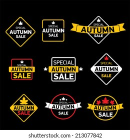 autumn special sale vintage vector sticker collection