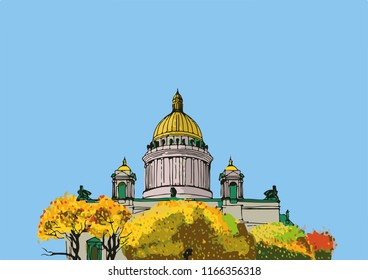 Autumn autumn St. Isaac's Cathedral St. Petersburg. Architectural monument. Russia