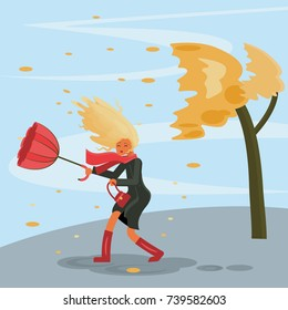 Autumn stormy weather. The wind tears the umbrella out of the girls hands. Vector illustration eps 10