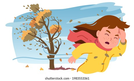 Autumn strong wind storm. Girl kid person fighting against wind bending tree with flying yellow foliage leaves. Child caught outdoor in stormy weather. Fall season windy day flat vector illustration