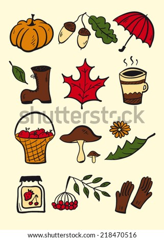 Autumn Stuff Color Stock Vector (Royalty Free) 218470516 - Shutterstock