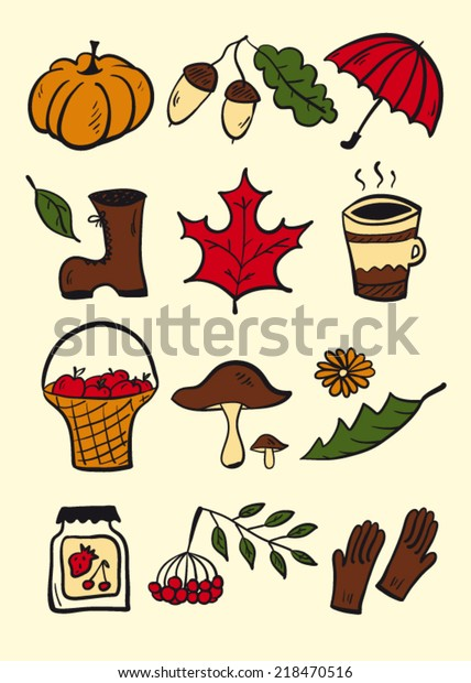 Autumn Stuff Color Stock Vector (Royalty Free) 218470516