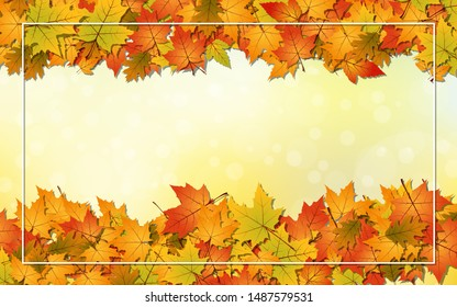 Autumn style vector background with colorful leaves and white frame
