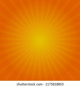 Autumn sun rays. Vector background. Red orange and yellow colors
