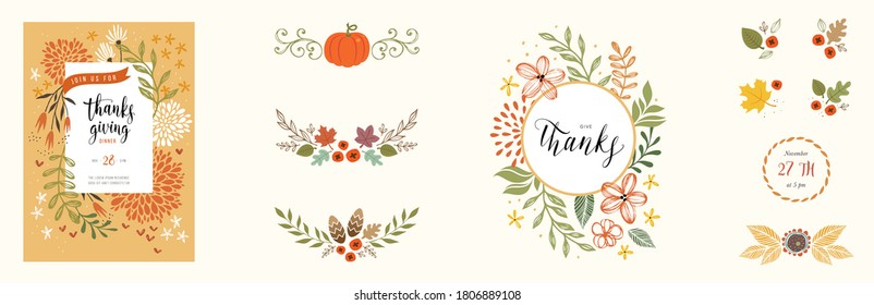 Autumn template and design elements. Good for Thanksgiving greeting cards, invitations, flyers and other graphic design. Vector illustration.